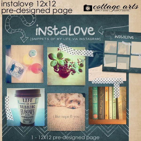 Instalove 12x12 Quick Page Scrap.over Digital Art - Digital Scrapbooking Kits