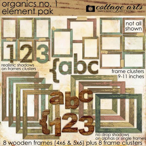 Organics 1 Element Pak Digital Art - Digital Scrapbooking Kits