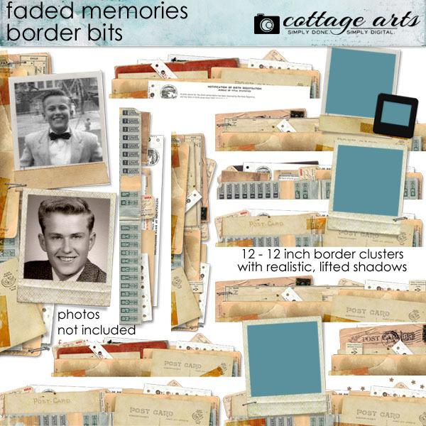 Faded Memories Border Bits Digital Art - Digital Scrapbooking Kits