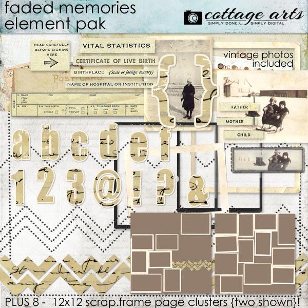 Faded Memories Element & Scrap.Frames Pak Digital Art - Digital Scrapbooking Kits