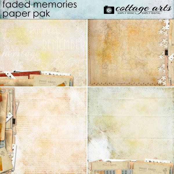 Faded Memories Paper Pak Digital Art - Digital Scrapbooking Kits