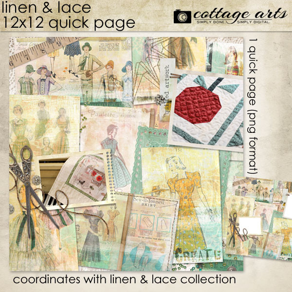 Linens & Lace 12x12 Quick Page Scrapover Digital Art - Digital Scrapbooking Kits