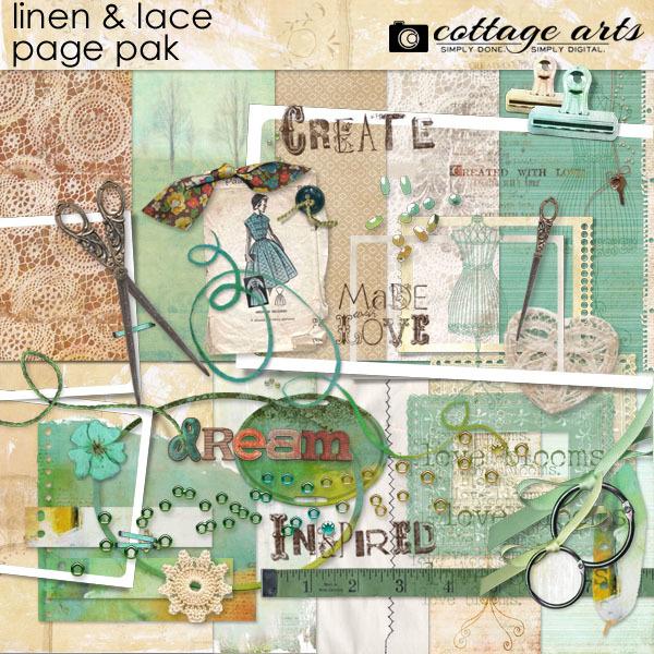 Linens & Lace Page Pak Digital Art - Digital Scrapbooking Kits