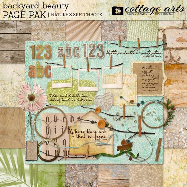 Nature's Sketchbook - Backyard Beauty Page Pak W 2 Alphas Digital Art - Digital Scrapbooking Kits