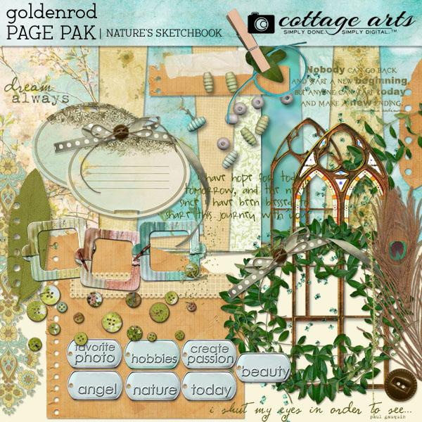Nature's Sketchbook - Goldenrod Page Pak Digital Art - Digital Scrapbooking Kits