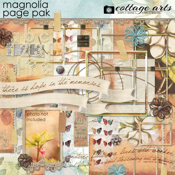 Nature's Sketchbook - Magnolia Page Pak Digital Art - Digital Scrapbooking Kits