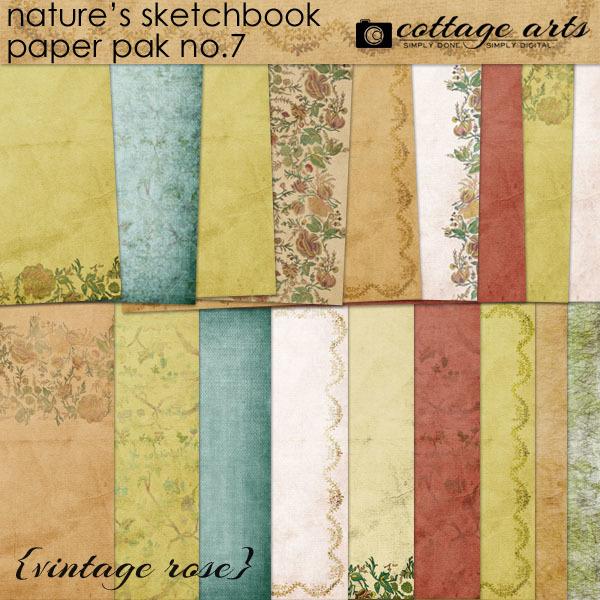 Nature's Sketchbook 7 Paper Pak - Vintage Rose Digital Art - Digital Scrapbooking Kits