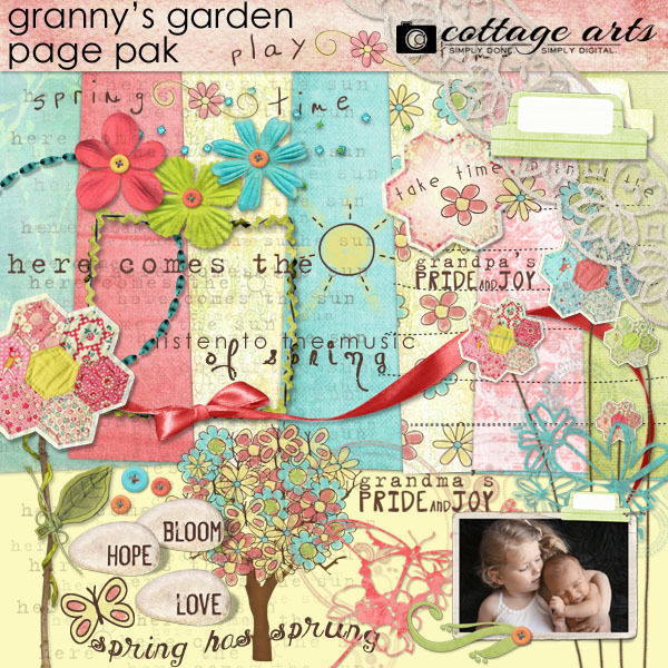 Granny's Garden Page Pak Digital Art - Digital Scrapbooking Kits