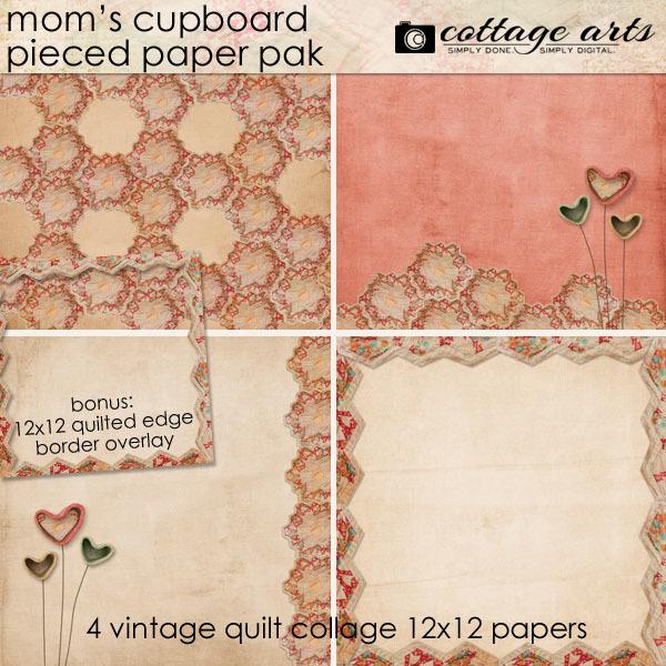 Mom's Cupboard Pieced Paper Pak Digital Art - Digital Scrapbooking Kits