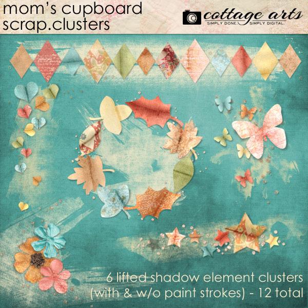 Mom's Cupboard Scrap.Clusters Digital Art - Digital Scrapbooking Kits