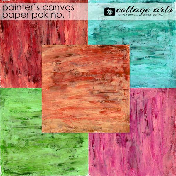 Painter's Canvas 1 Paper Pak Digital Art - Digital Scrapbooking Kits