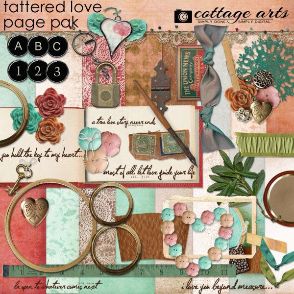 Tattered Love Page Pak Digital Art - Digital Scrapbooking Kits