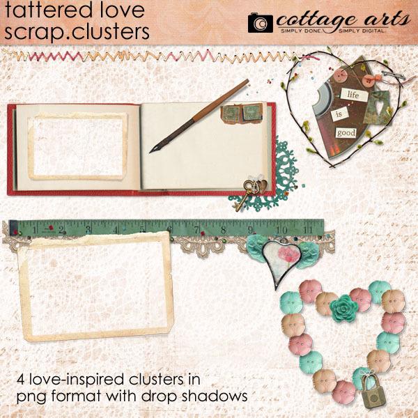 Tattered Love Scrap.clusters Digital Art - Digital Scrapbooking Kits