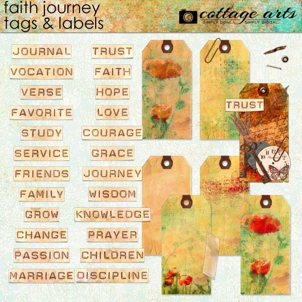 Faith Journey Tags & Labels Digital Art - Digital Scrapbooking Kits