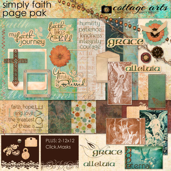 Simply Faith Page Pak Digital Art - Digital Scrapbooking Kits