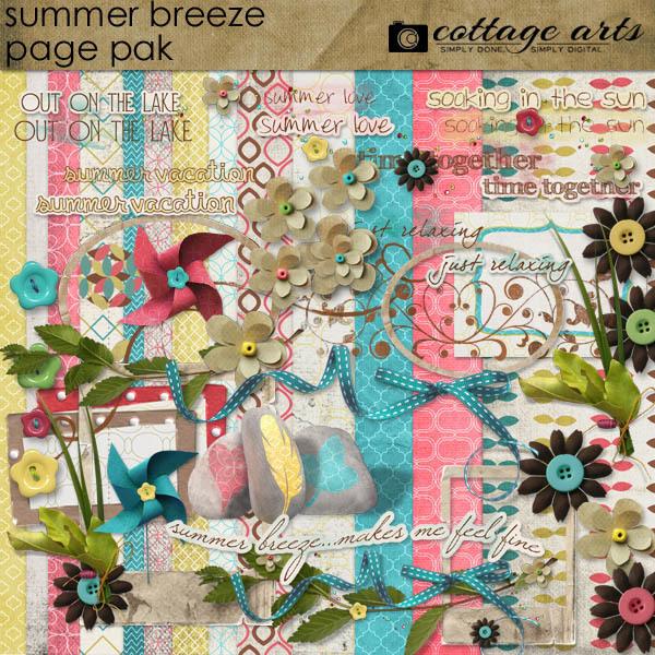 Summer Breeze Page Pak Digital Art - Digital Scrapbooking Kits