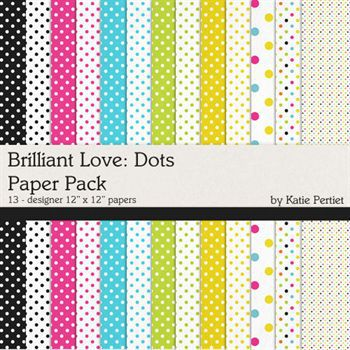 Brilliant Love Add-on Dots Papers Digital Art - Digital Scrapbooking Kits