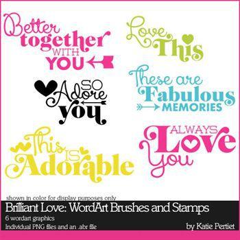 Brilliant Love Add-on Wordart Digital Art - Digital Scrapbooking Kits