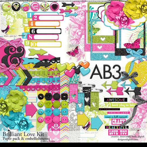 Brilliant Love Scrapbook Kit Digital Art - Digital Scrapbooking Kits