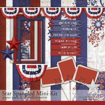 Star Spangled Mini Kit Digital Art - Digital Scrapbooking Kits