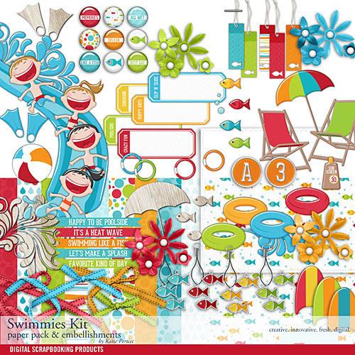 Swimmies Scrapbook Kit Digital Art - Digital Scrapbooking Kits