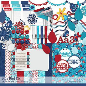 Blue Bird Kit Digital Art - Digital Scrapbooking Kits