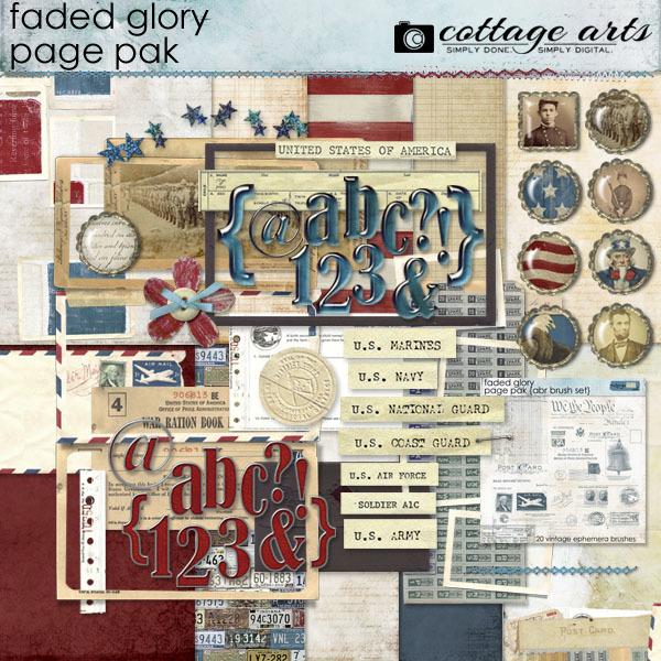 Faded Glory Page Pak  Digital Art - Digital Scrapbooking Kits