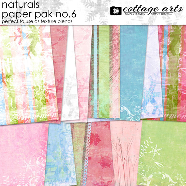 Naturals 6 Paper Pak Digital Art - Digital Scrapbooking Kits