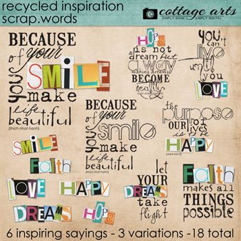 Recycled Inspiration Scrap.words Digital Art - Digital Scrapbooking Kits