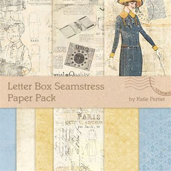 Letter Box Seamstress Paper Pack Digital Art - Digital Scrapbooking Kits