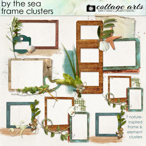 By The Sea Frame Clusters Digital Art - Digital Scrapbooking Kits