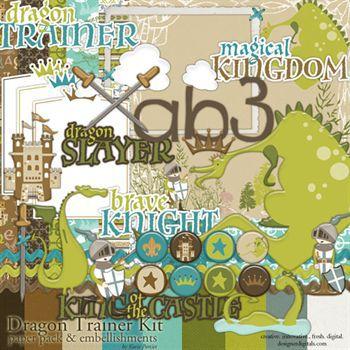Dragon Trainer Kit Digital Art - Digital Scrapbooking Kits