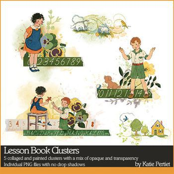 Lesson Book Clusters Digital Art - Digital Scrapbooking Kits