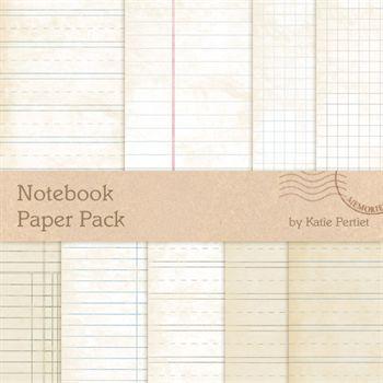 Notebook Paper Pack No.1 Digital Art - Digital Scrapbooking Kits