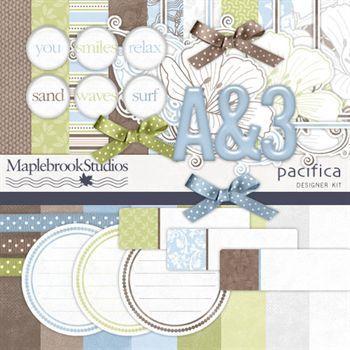 Pacifica Kit Digital Art - Digital Scrapbooking Kits