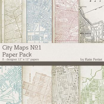City Maps Paper Pack No. 1 Digital Art - Digital Scrapbooking Kits