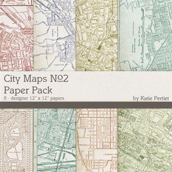 City Maps Paper Pack No. 2 Digital Art - Digital Scrapbooking Kits
