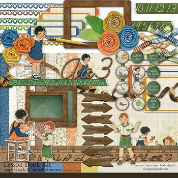 Lesson Book Kit Digital Art - Digital Scrapbooking Kits