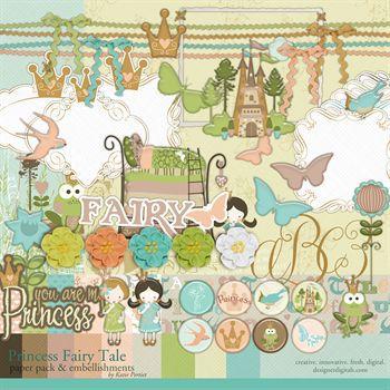 Princess Fairy Tale Kit Digital Art - Digital Scrapbooking Kits