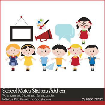 School Mates Stickers Add-on Digital Art - Digital Scrapbooking Kits