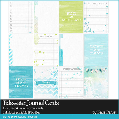 Tidewater Journal Cards Digital Art - Digital Scrapbooking Kits