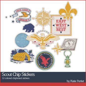 Scout Chip Stickers Digital Art - Digital Scrapbooking Kits
