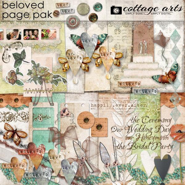 Beloved Page Pak Digital Art - Digital Scrapbooking Kits