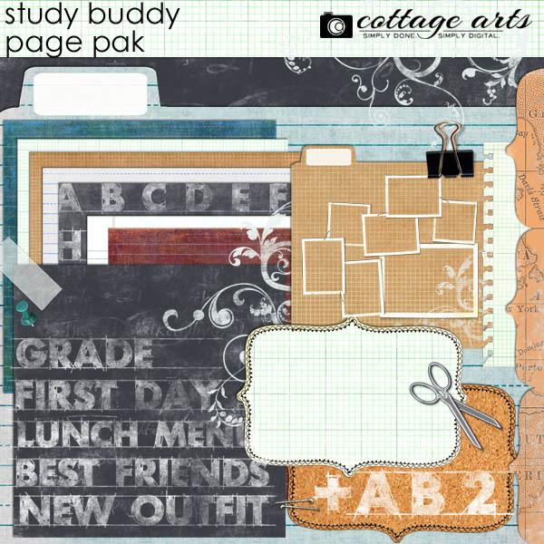 Study Buddy Page Pak W Alpha Digital Art - Digital Scrapbooking Kits