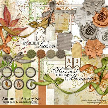 Autumnal Artistry Kit Digital Art - Digital Scrapbooking Kits