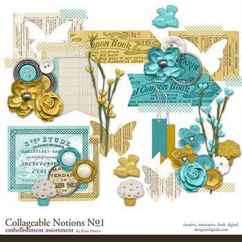 Collageable Notions No.1 Digital Art - Digital Scrapbooking Kits