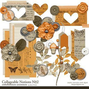 Collageable Notions No.2 Digital Art - Digital Scrapbooking Kits