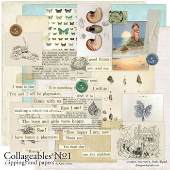 Collageables Element Pack No.1 Digital Art - Digital Scrapbooking Kits