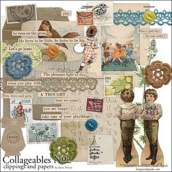 Collageables Element Pack No.2 Digital Art - Digital Scrapbooking Kits