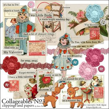 Collageables Element Pack No.3 Digital Art - Digital Scrapbooking Kits